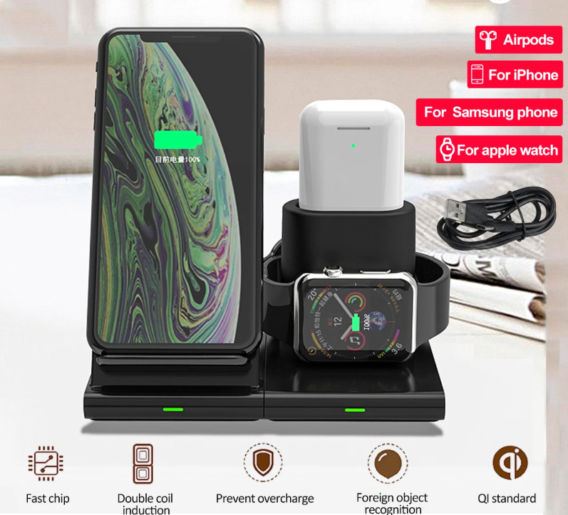 The Fast Rechargeable 3 in 1 Wireless Charger Dock Pad Stand Holder