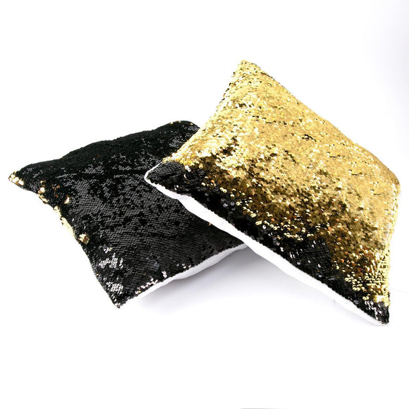 Set of 2 Magic Sequin Cushions - Black & Gold