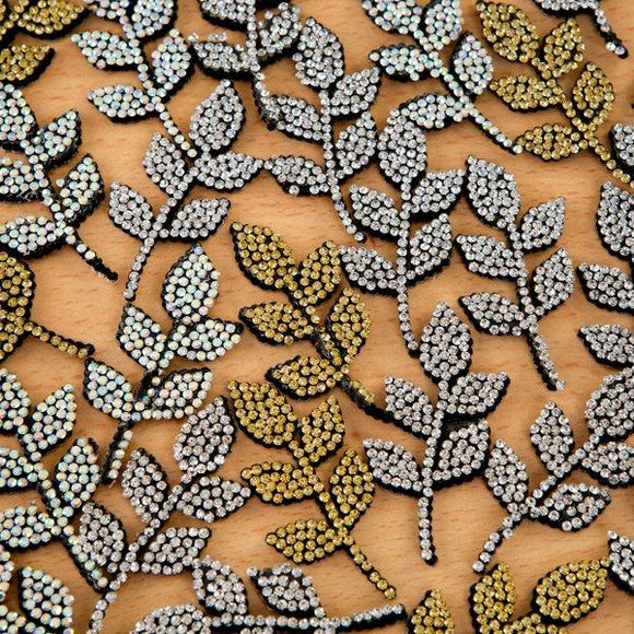Self-Adhesive Diamante Leaf Flourishes - Fancy