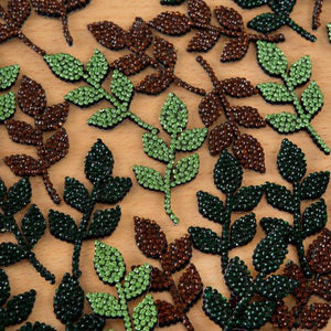 Self-Adhesive Diamante Leaf Flourishes - Natural