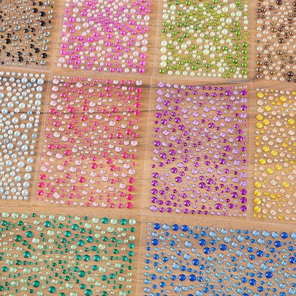 CB Set of 10 Packs of Self-Adhesive Double Colour Rhinestones and Pearls