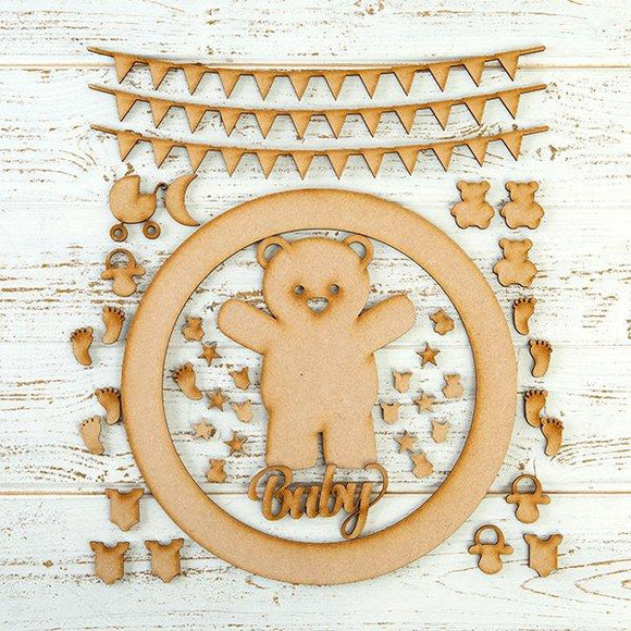 Pretty Gets Gritty MDF Buildable Wreath Kits - Baby