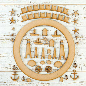Pretty Gets Gritty MDF Buildable Wreath Kits - Nautical
