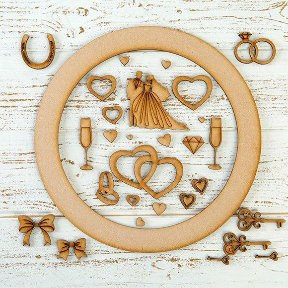 Pretty Gets Gritty MDF Buildable Wreath Kits - Wedding