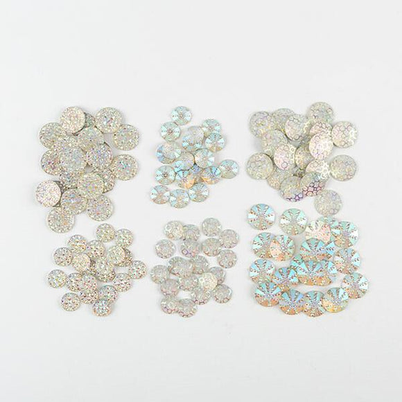 120 piece AB clear textured resin bling kit: 6 shapes, 20 pieces of each.