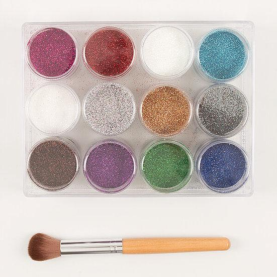 CB Luxury Holographic Glitter Set with Brush - 12 Pots x 12g