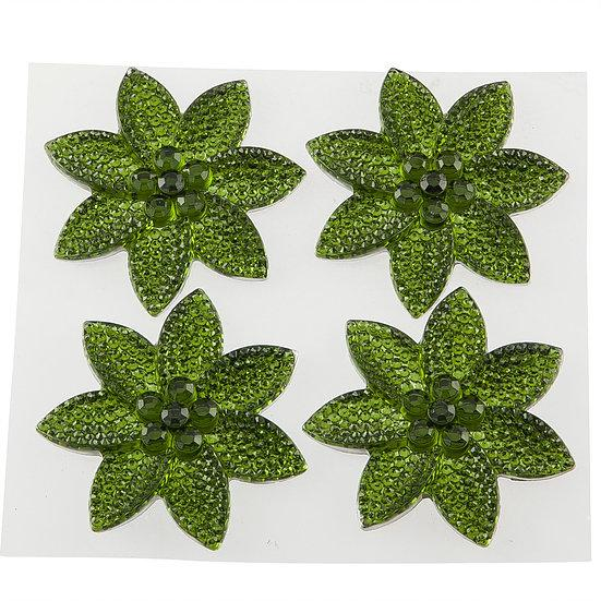 Olive Green Crystal Pretty Petal Self Adhesive Gems (DBG02-OG)