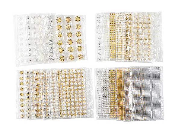 24 Packs of Self adhesive Gold, Silver and AB White Gems