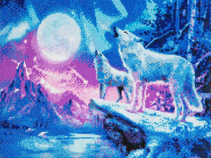 "CAK-A27: ""Wolves & Northern Lights"" Framed Crystal Art Kit, 40 x 50cm"