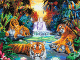 "CAK-A23: ""Tigers at the Jungle Pool"" Framed Crystal Art Kit, 40 x 50cm"