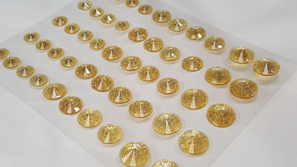 50pcs Self Adhesive Pointed Glitter Gems GOLD (DBG05G)