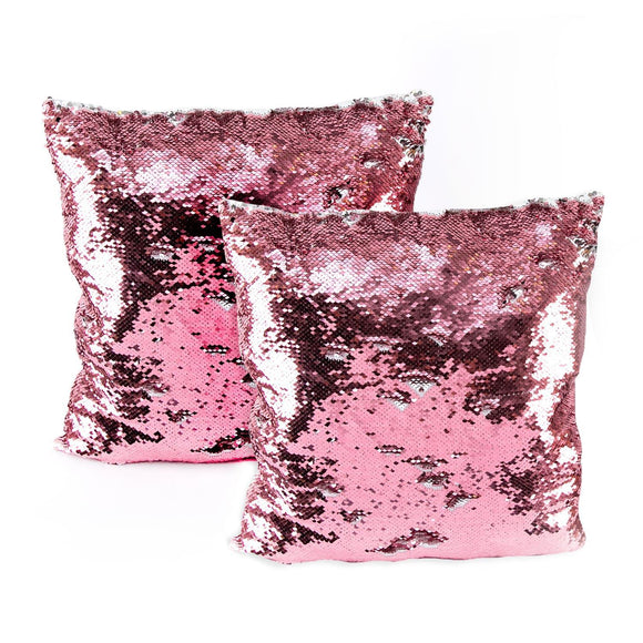 Set of 2 Pink to Silver Magic Sequin Cushions - 40x40cm Each