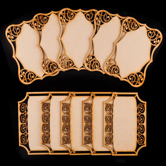 Set of 10 Laser Cut MDF Ornate Plaques