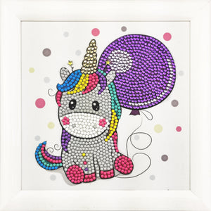 "CAFBL-1: ""Party Unicorn"" Crystal Art Frameables Kit with Picture Frame"