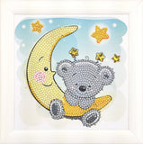 "CAFBL-2: ""Teddy on the Moon"" Crystal Art Frameables Kit with Picture Frame"