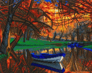 "CAK-A101L: ""Autumn River"" Framed Crystal Art Kit, 40 x 50cm"