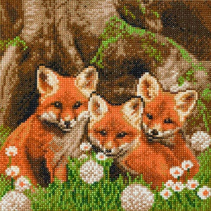 "CAK-A116M: ""Fox Cubs"" 30x30cm Crystal Art Kit"