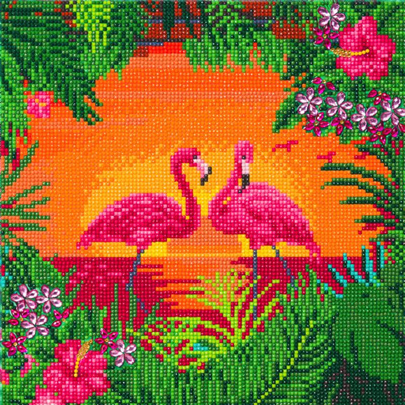 CAK-A117: Fancy Flamingos, 30x30cm Crystal Art Kit