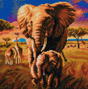 "CAK-A68: ""Elephant of Savannah"" Framed Crystal Art Kit 30 x 30cm (Medium)"