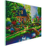 "CAK-TK7XL: ""Stoney Creek Cottage"""" 40x90cm Panoramic Crystal Art Kit  THOMAS KINKADE"""