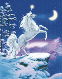 "CAK-XLED14: ""Moonlight Unicorn"" Framed LED Crystal Art Kit - 40 x 50 (With Special Effects)"