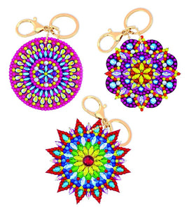 "CAKC-A3: ""CRYSTAL ART KEYRING KIT - SET OF 3 KEYRINGS - MANDALAS. In Colour Box  """