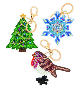 "CAKC-A4: ""SET OF 3 KEYRINGS - FESTIVE JOY"""