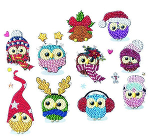 Cool Christmas Owls, 21x27cm Crystal Art Sticker Set - CAMK-2020SET4
