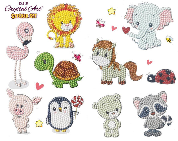 Animal Friends, 21x27cm Crystal Art Sticker Set - CAMK-2020SET5