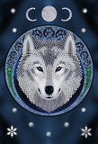 "CANJ-11: ""Lunar Wolf""""  26x18cm Crystal Art Notebook  ANNE STOKES"""