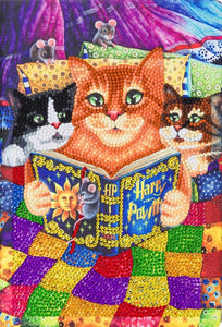 "CANJ-2 ""Kitten Bedtime Stories"" Crystal Art Notebook Kit, 26 x 18cm"