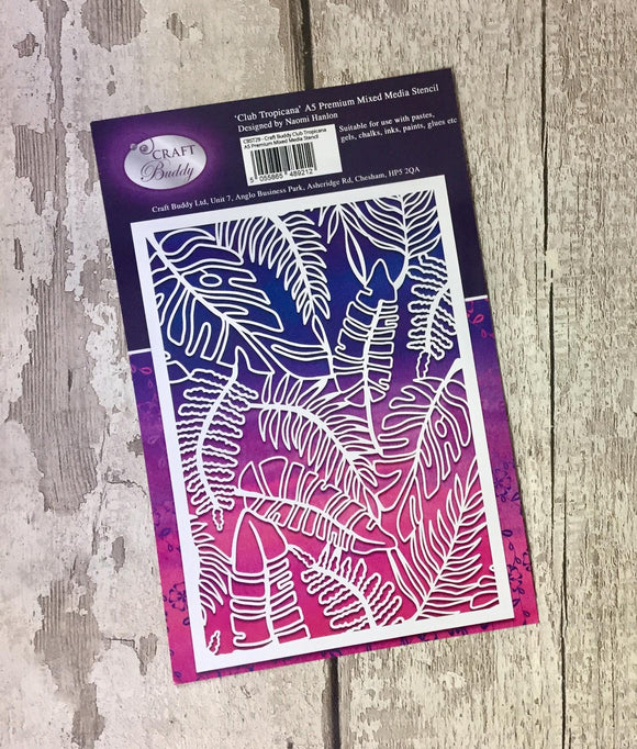 Craft Buddy Club Tropicana A5 Premium Mixed Media Stencil - CBST29