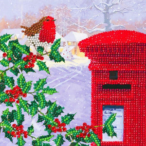 "CCK-XM56: ""Robin & Postbox"", 18x18cm Crystal Art Card"