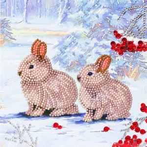 "CCK-XM61: ""Winter Bunnies"", 18x18cm Crystal Art Card"