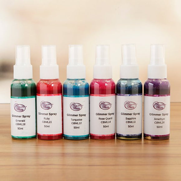Craft Buddy Glimmer Sprays - Festive Set of 6x 50ml - CBML-KT1