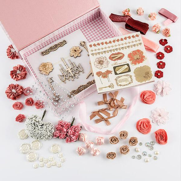 Pink Poppy Embellishment Set - Inc 19 x Embellishments, 6x6