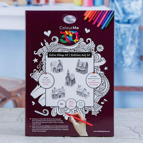 P3D-FHKT1: Craft Buddy 3D Colour Me Puzzle Kits - Festive Village Kit