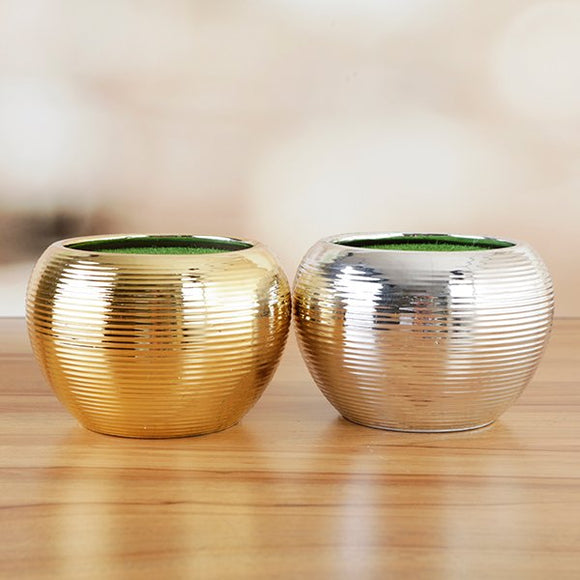 Forever Flowerz Gold & Silver Ceramic Pots - FF-CERGS