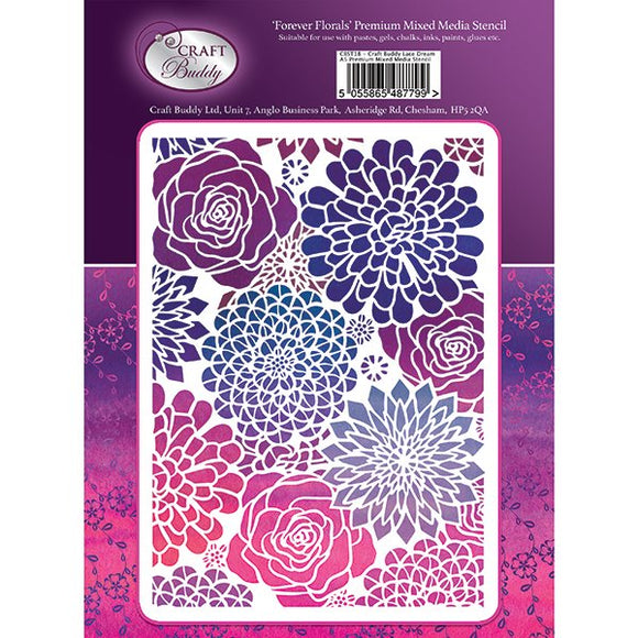 Forever Flowerz A5 Premium Embossing Stencil - Forever Florals - CBST22