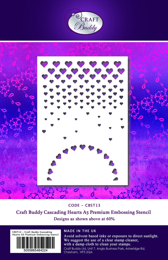 A5 Premium Embossing Stencil - Cascading Hearts