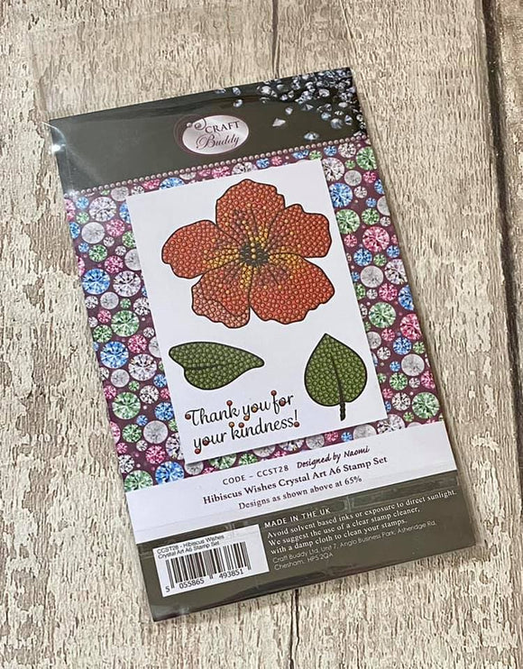 CCST28: Hibiscus Wishes Crystal Art A6 Stamp Set