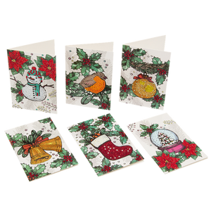 "Set of 6 ""Christmas"" Crystal Card Kits - White, 10 x 15cm each"