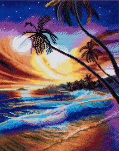 "CAK-A47: ""Tropical Beach"" Framed Crystal Art Kit, 40 x 50cm"