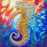 "CCK-A48 ""Golden Seahorse"" Crystal Art Card Kit"
