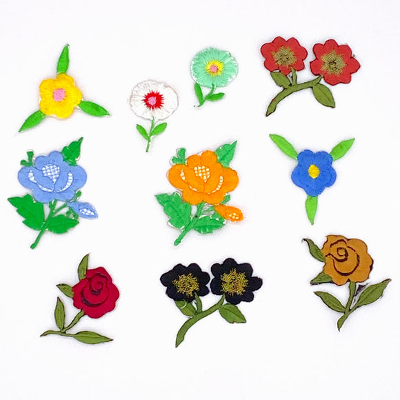 IOF10: Craft Buddy Set of 10 Flowers iron on Motifs