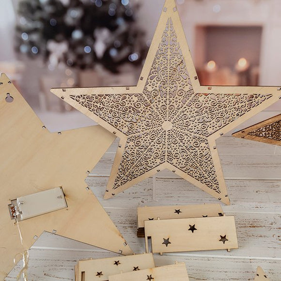 WSTKT2: Craft Buddy Set of 2 Light up! Laser cut Star Decorations