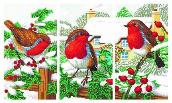 CAK-CNCSET-TT3: Robin Friends Triptich Crystal Art Kit Complete Set