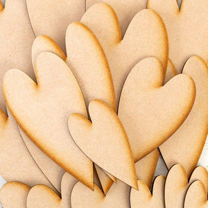 Pretty Gets Gritty Set of 20 MDF Arty Hearts