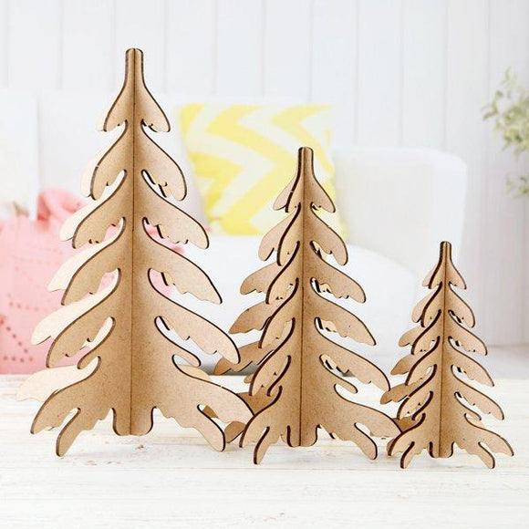 Pretty Gets Gritty - MDF Set of 3 Festive Trees