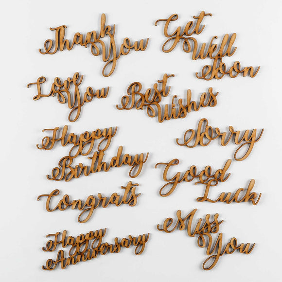 Set of 10 Large MDF Sentiments - Best Wishes